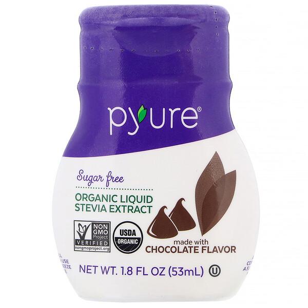 Pyure, Extracto de Stevia orgánico líquido, Chocolate, 53ml (1,8oz.líq.)