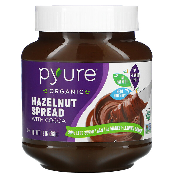 Pyure, Organic Hazelnut Spread with Cacao, 13 oz ( 369 g)