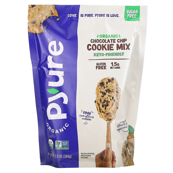 Organic Chocolate Chip Cookie Mix, Gluten-Free, Keto, 0 Sugar, 12.9 oz (368 g)