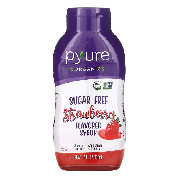 Organic Sugar-Free Strawberry Flavored Syrup, Sugar-Free, 14 fl oz (415 ml)