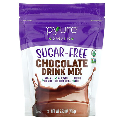 Купить Pyure Organic Sugar-Free Chocolate Drink Mix, 7.23 oz (205 g)