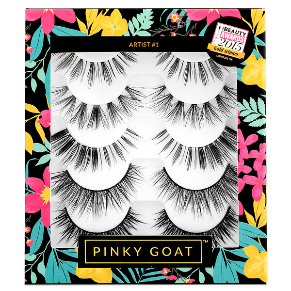 Pinky Goat, Artist #1, Silk False Eyelashes, 5 Pack