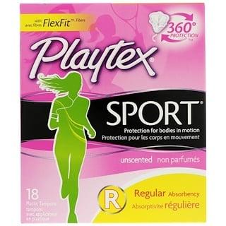 Playtex, Спортивные, для регулярного применения, без запаха, 18 пластиковых тампонов