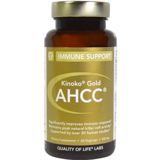 Quality of Life Labs, Kinoko Gold AHCC, Immune Support, 500 mg, 60 Veggie Caps