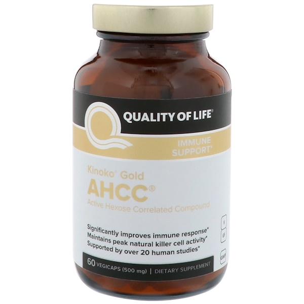 Quality of Life Labs, Kinoko Gold AHCC, Immune Support, 500 mg, 60 Vegicaps