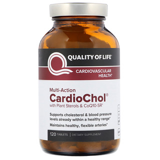 Quality of Life Labs, CardioChol with Plant Sterols & CoQ10-SR, Multi-Action, 120 Tablets