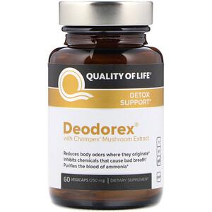 Куалити оф Лайф Лэбс, Deodorex, With Champex Mushroom Extract, 250 mg, 60 VegiCaps отзывы покупателей
