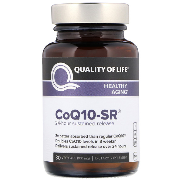 Quality of Life Labs, CoQ10-SR, 100 mg, 30 Vegicaps