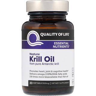 Quality of Life Labs, ネプチューンクリルオイル、必須栄養素、500 mg、ソフトジェル30個