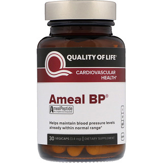 Quality of Life Labs, Ameal BP, Cardiovascular Health, 3.4 mg, 30 VegiCaps