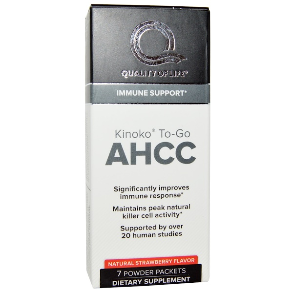 Quality of Life Labs, Kinoko To-Go AHCC, Natural Strawberry Flavor, 7 Powder Packets (Discontinued Item)