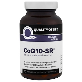 Quality of Life Labs, CoQ10-SR, 100 mg, 60 Vegicaps