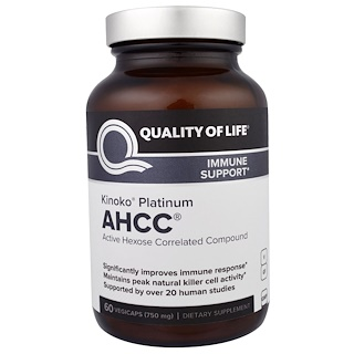 Quality of Life Labs, Kinoko Platinum AHCC, Immune Support, 750 mg, 60 Veggie Caps