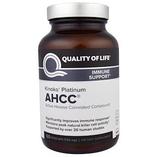 Quality of Life Labs, Kinoko Platino AHCC, Apoyo inmune, 750 mg, 60 cápsulas vegetales