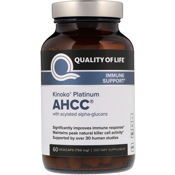 "Quality of Life Labs, Kinoko Platinum AHCC, 750 מ""ג, 60 קפסולות צמחיות"