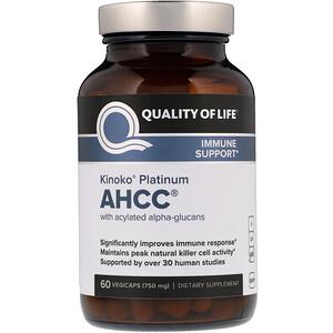 Куалити оф Лайф Лэбс, Kinoko Platinum AHCC, 750 mg, 60 Vegicaps отзывы покупателей