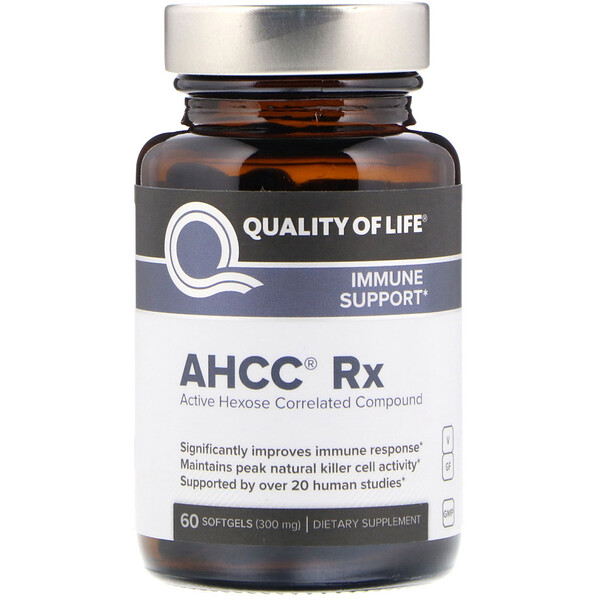Quality of Life Labs, AHCC RX, 300 mg, 60 Cápsulas Softgel