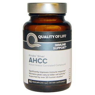 Quality of Life Labs, 키노코 실버 AHCC, 250 mg, 60 베지캡