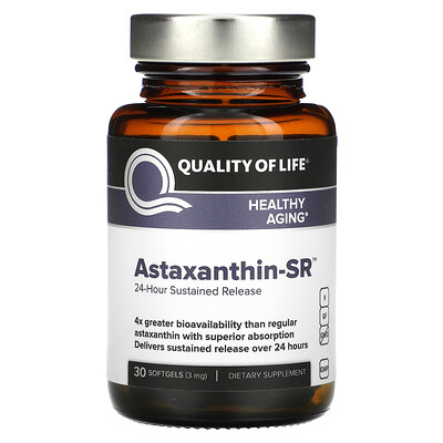 Купить Quality of Life Labs Astaxanthin-SR, 24-Hour Sustained Release, 3 mg, 30 Softgels