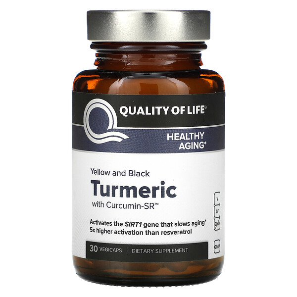 Quality of Life Labs, Yellow And Black Turmeric With Curcumin-SR, 30 Vegicaps