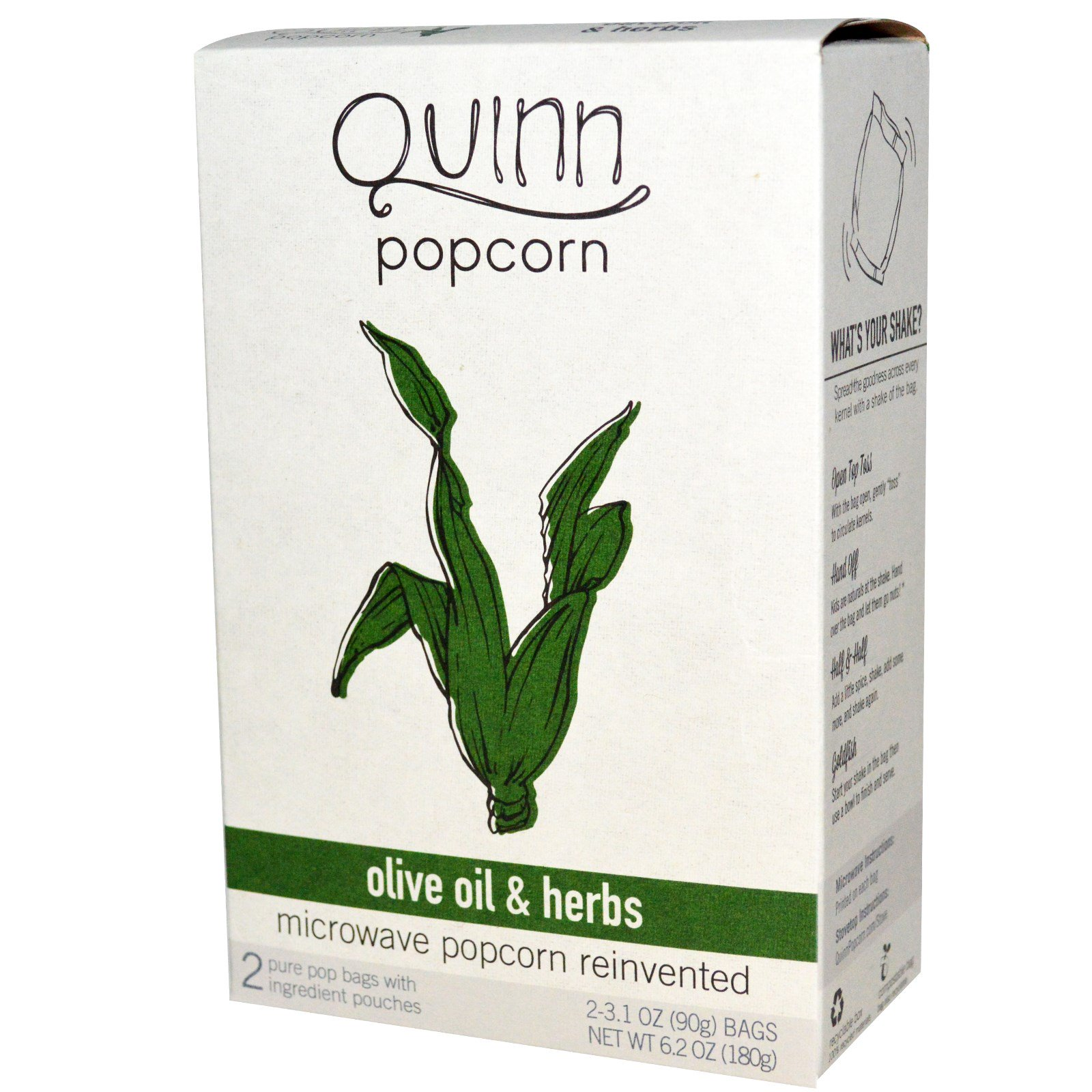 quinn popcorn microwave popcorn olive oil herbs 2 bags 3 1 oz 90 g each discontinued item