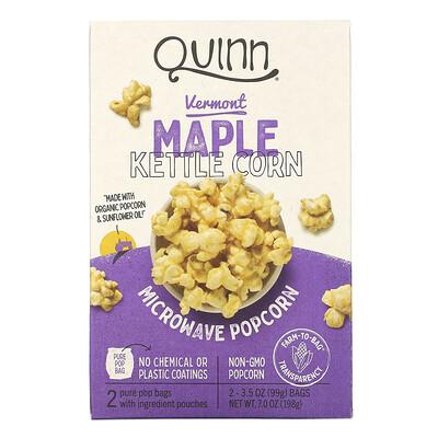 Купить Quinn Popcorn Попкорн для приготовления в микроволновой печи, Вермонтский кленовый сироп и морская соль, 2 пакета, 3.6 унций (102 г) каждый
