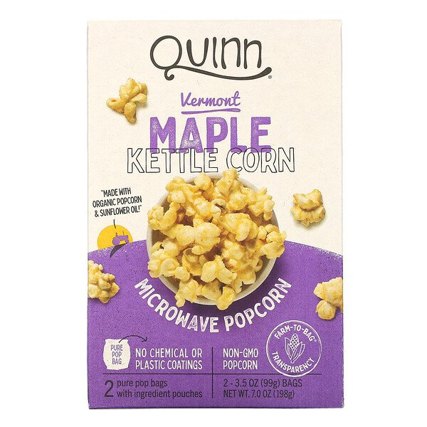Quinn Popcorn, Microwave Popcorn, Vermont Maple & Sea Salt, 2 Bags, 3.6 oz (102 g) Each