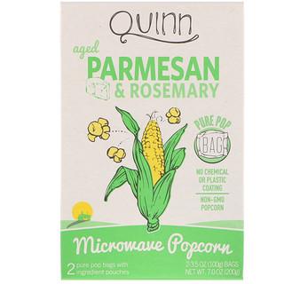 Quinn Popcorn, فوشار للتحضير في فرن الميكروويف، بارمازان وإكليل الجبل، 2 كيس، 3.5 أوقية (100 غرام) كل كيس