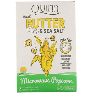 Quinn Popcorn, زبدة وملح البحر، 2 كيس، 3.5 أوقية (98 جم) لكل كيس