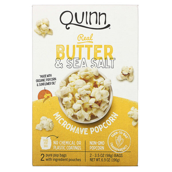 Microwave Popcorn, Real Butter & Sea Salt, 2 Bags, 3.5 oz (98 g) Each