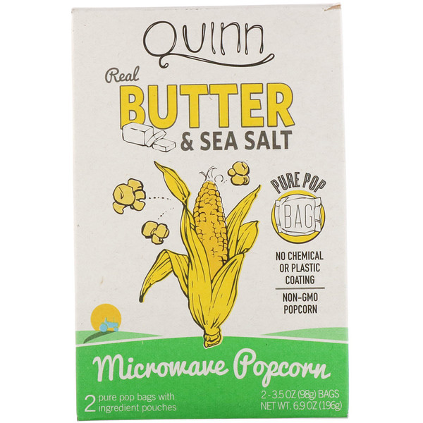 Quinn Popcorn, Real Butter & Sea Salt, 2 Bags, 3.5 oz (98 g) Each