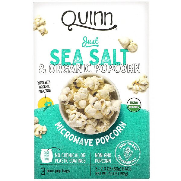 Microwave Popcorn, Just Sea Salt, 3 Bags, 2.3 oz (66 g) Each