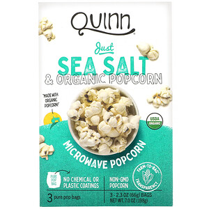 Quinn Popcorn, Microwave Popcorn, Just Sea Salt, 3 Bags, 2.3 oz (66 g) Each
