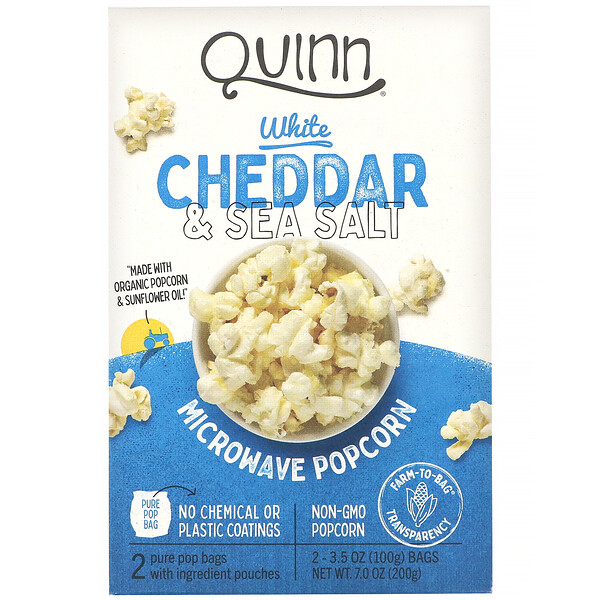 Microwave Popcorn, White Cheddar & Sea Salt, 2 Bags, 3.5 oz (100 g) Each