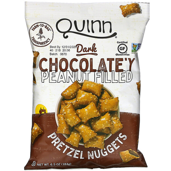 Quinn Popcorn, Pretzel Nuggets, Dark Chocolate'y Peanut Filled, 6.5 oz (184 g)