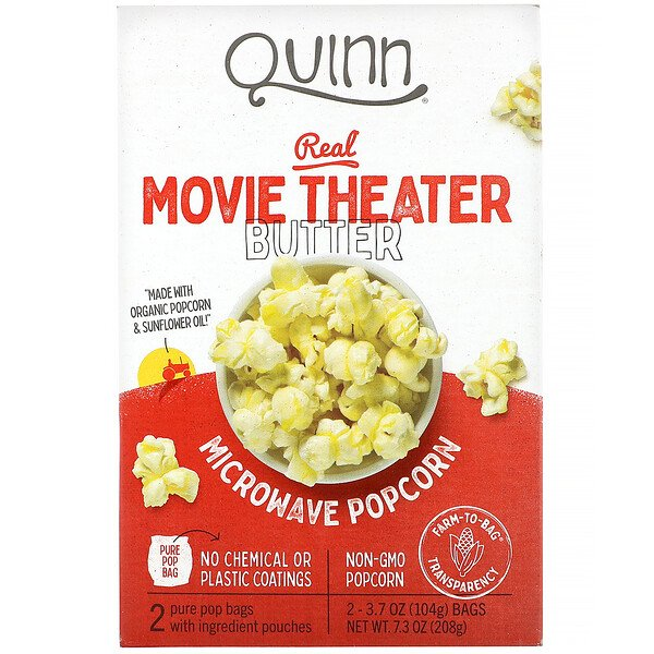 Microwave Popcorn, Real Movie Theater Butter, 2 Bags, 3.7 oz (104 g) Each