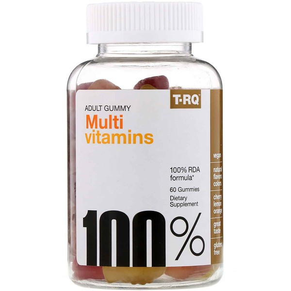 T-RQ, Adult Gummy, Multi Vitamins, Cherry Lemon Orange, 60 Gummies