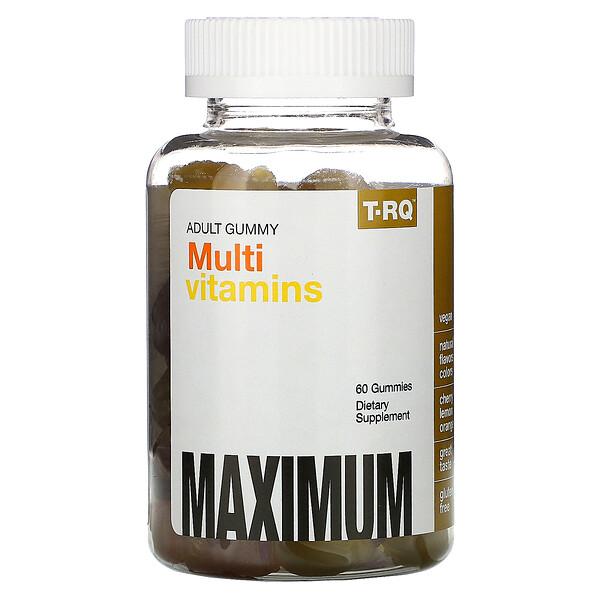 T-RQ, Adult Gummy, Multivitamin-Fruchtgummis für Erwachsene, Kirsche-Zitrone-Orange, 60Fruchtgummis