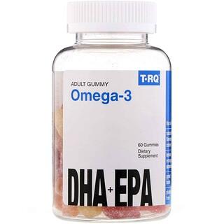 T-RQ, حلوى مطاطية للبالغين أوميغا-3، حمض الدوكوساهيكسانويك + حمض إيكوسابنتينويك، ليمون، برتقال، فراولة، 60 حلوى مطاطية