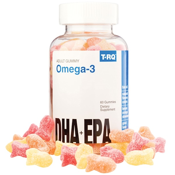 T-RQ, Omega-3, DHA + EPA, Lemon, Orange, Strawberry, 60 Gummies