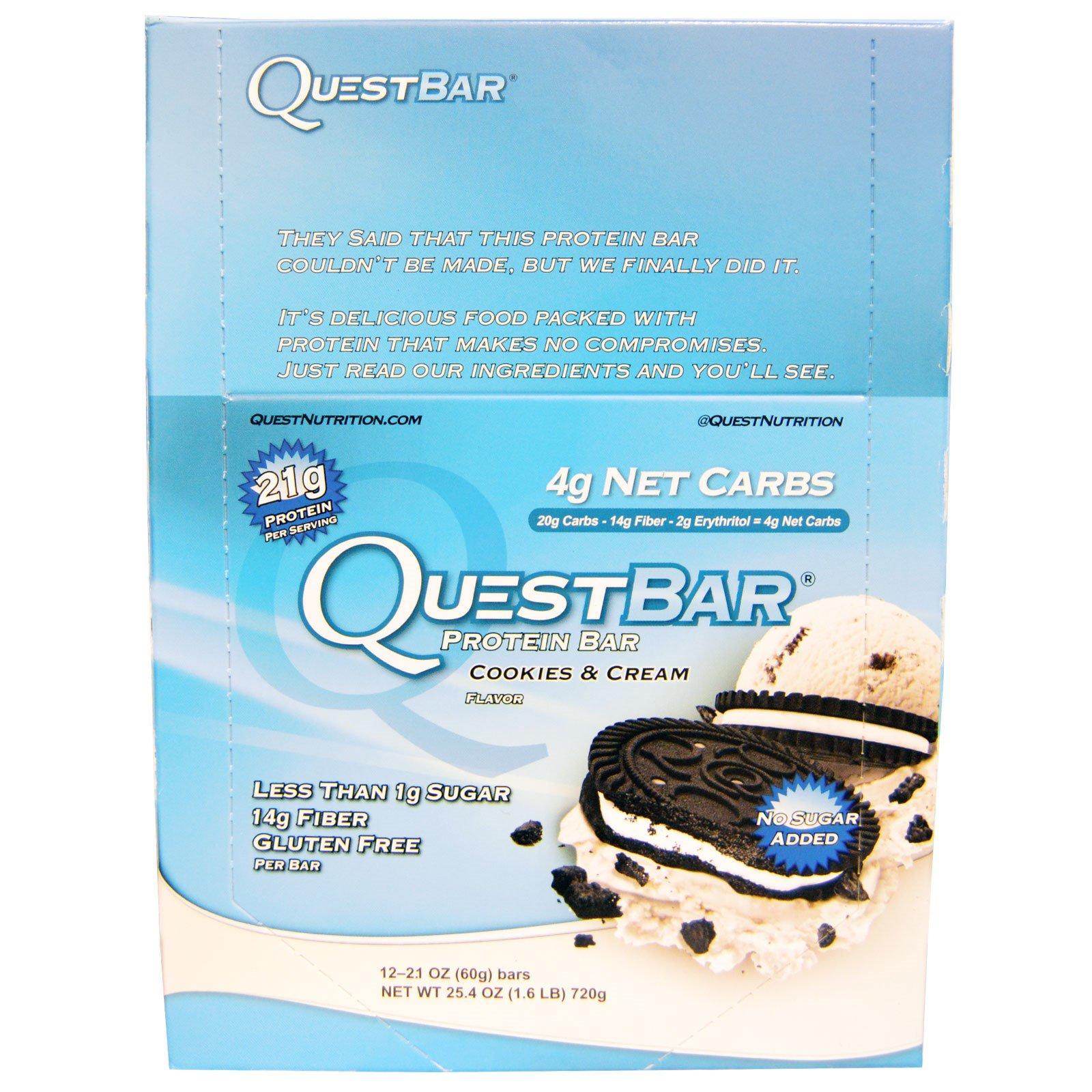 Quest Nutrition, QuestBar, протеиновый батончик, печенье и сливки, 12 батончиков, по 2,1 (60 г) каждый
