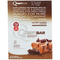 Quest Nutrition, Eiweißriegel, Schokoladenkeksteig, 12 Riegel, je 2,12 oz (60 g)