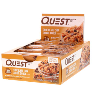 Quest Nutrition, Protein Bar, Chocolate Chip Cookie Dough, 12 Bars, 2.12 oz (60 g) Each