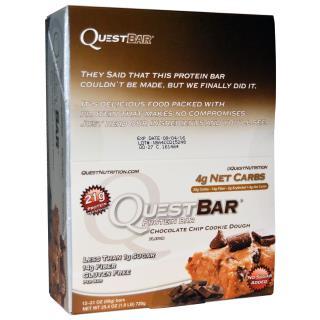 Quest Nutrition, QuestBar, белковый батончик, шоколадная крошка и тесто печения, 12 батончиков, 2,1 унции (60 г) каждый