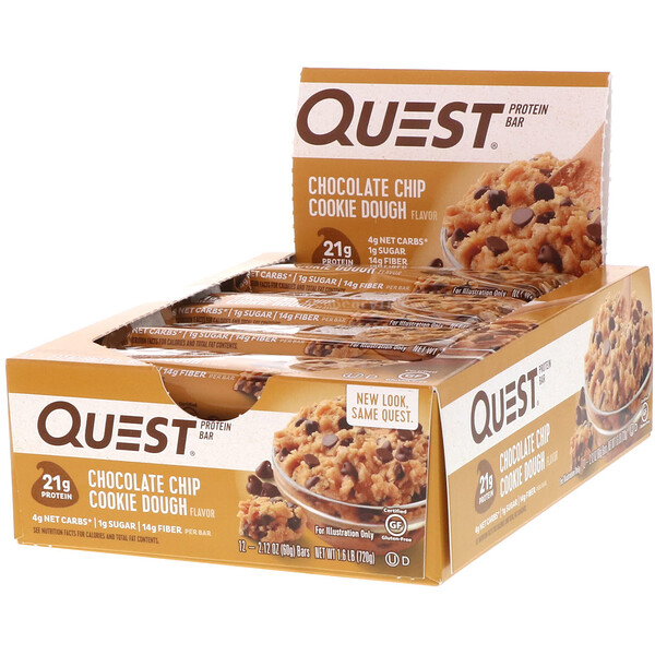 Protein Bar, Chocolate Chip Cookie Dough, 12 Bars, 2.12 oz (60 g) Each
