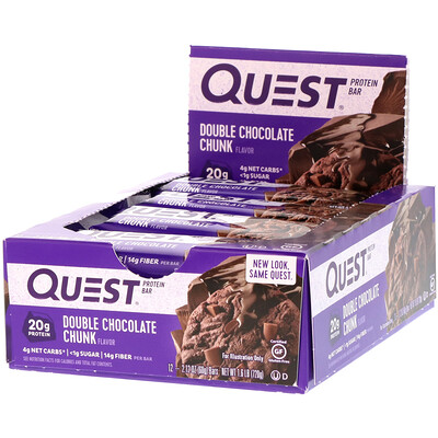 QuestBar, Protein Bar, Double Chocolate Chunk, 12 Bars, 2.12 oz (60 g) Each