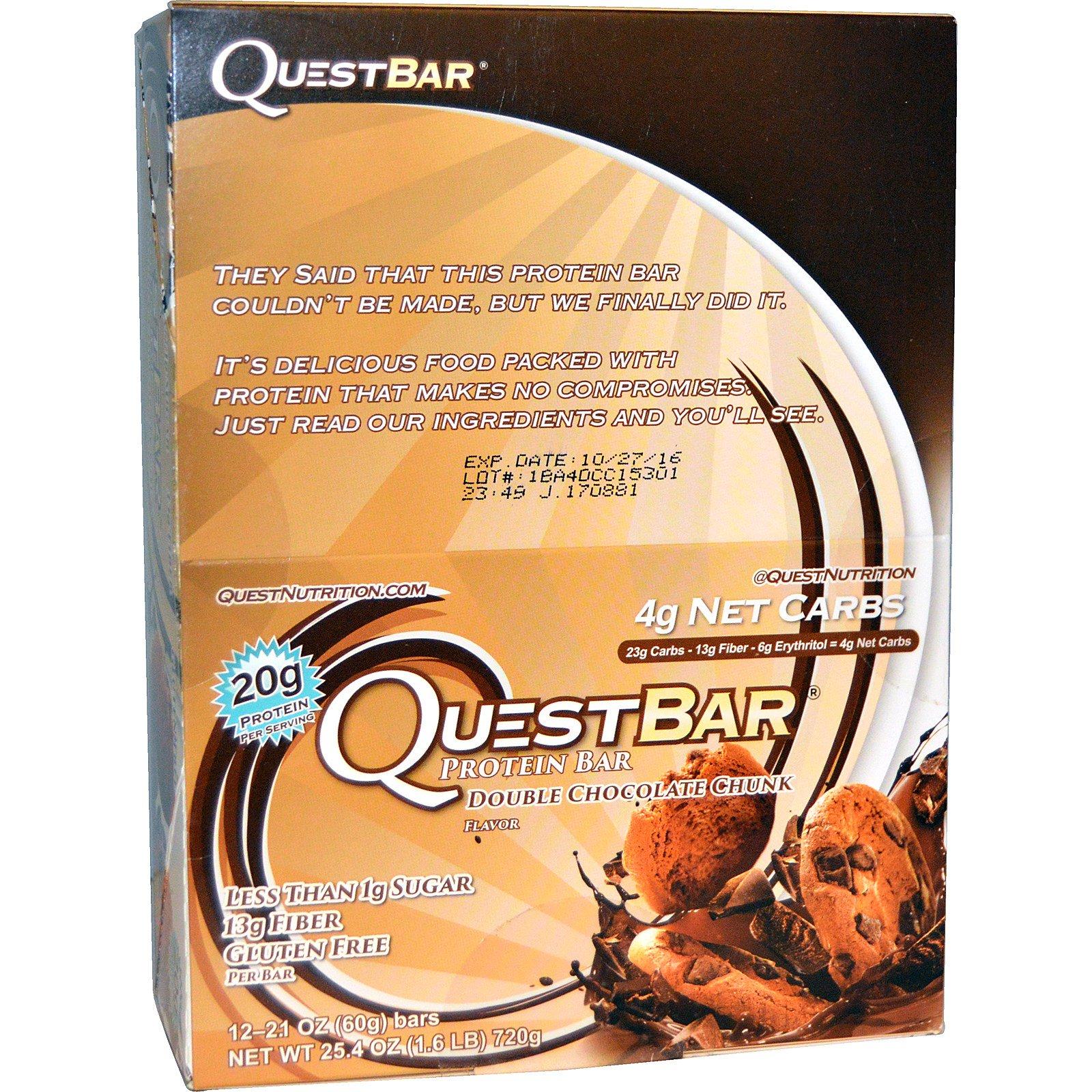 Quest Nutrition, QuestBar, Protein Bar, Double Chocolate Chunk, 12 Bars, 2.1 oz (60 g) Each