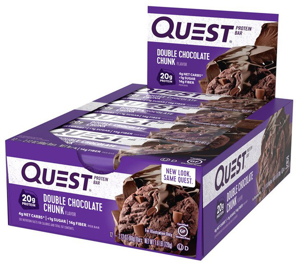 Quest Nutrition, QuestBar, Protein Bar, Double Chocolate Chunk, 12 Bars, 2.1 oz (60 g) Each