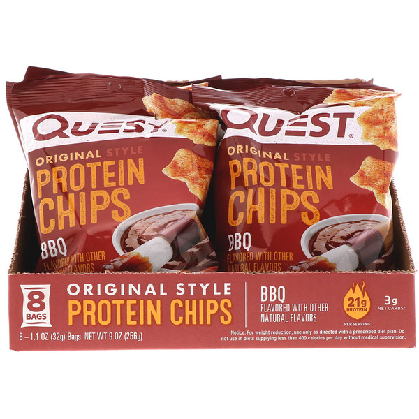 Quest Nutrition, Original Style Protein Chips, BBQ, 8 Pack, 1.1 oz (32 g) Each (Discontinued Item)