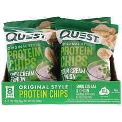 Quest Nutrition, オリジナルスタイルプロテインチップス、サワークリーム & オニオン、8パック、各1.1オンス (32 g)